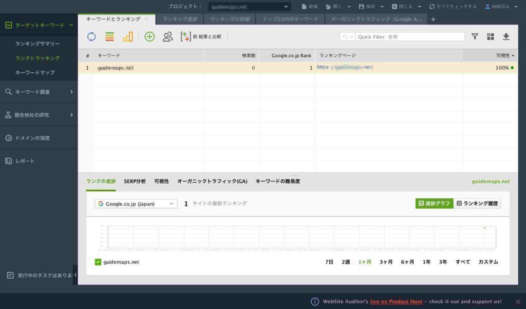 サイト登録と検索エンジンを選択した後の管理画面